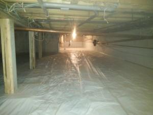 Basement crawlspace after membrane installation