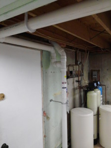 Basement system with two suction points